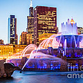 Chicago Skyline At Night With Buckingham Fountain by Paul Velgos
