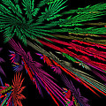 Computer Generated Red Green Abstract Fractal Flame Modern Art by Keith Webber Jr