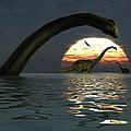 Diplodocus Dinosaurs Bathe In A Large by Mark Stevenson