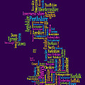 Great Britain Uk County Text Map by Michael Tompsett