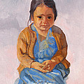 Guatemalan Girl In Blue Dress by Suzanne Cerny