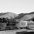 Historic Niles Trains In California . Southern Pacific Locomotive And Sante Fe Caboose.7d10819.bw by Wingsdomain Art and Photography