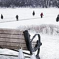 Ice Skates Hanging On Bench With People  Skating In Background by Sandra Cunningham