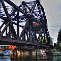 Jack-knife Bridge At Erie Canal Harbor by Michael Frank Jr