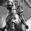 Joan Of Arc Statue French Quarter New Orleans Black And White by Shawn O'Brien