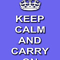 Keep Calm And Carry On Poster Print Blue Background by Keith Webber Jr