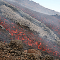 Lava Flow During Eruption Of Mount Etna by Richard Roscoe