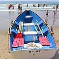 Lifeguard Boat At Ocean City Boardwalk New Jersey by Sven Migot