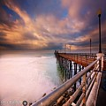 Long Exposure Sunset At The Oceanside by Larry Marshall