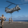 Marines Fast Rope On To The Flight Deck by Stocktrek Images