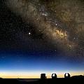 Milky Way And Observatories, Hawaii by David Nunuk