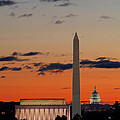 Monuments At Sunrise by Metro DC Photography
