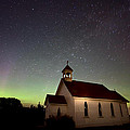 Night Church Northern Lights by Mark Duffy