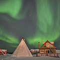 Northern Lights Above Village by Jiri Hermann
