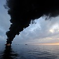 Oil Spill Burning, Usa by U.s. Coast Guard
