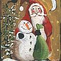 Primitive Santa And Snowman Crow by Sylvia Pimental