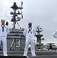 Sailors Man The Rails Aboard by Stocktrek Images