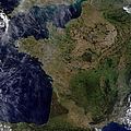 Satellite View Of France by Stocktrek Images