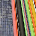 Skyscraper And Multi Coloured Stripes by Sami Sarkis