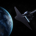 Space Shuttle Backdropped Against Earth by Carbon Lotus