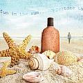 Suntan Lotion And Seashells On The Beach by Sandra Cunningham