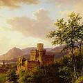 Travellers On A Path In An Extensive Rhineland Landscape by Barend Cornelis Koekkoek