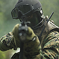 U.s. Marine During Combat Operations by Tom Weber