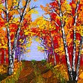 White Birch Tree Abstract Painting In Autumn by Keith Webber Jr