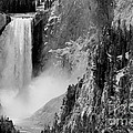 Yellowstone Waterfalls In Black And White by Sebastian Musial