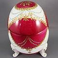 1543 Footed Egg Box Dark Pink by Wilma Manhardt