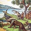 1888 Megalosaurus, Dryptosaurus Dinosaurs by Paul D Stewart