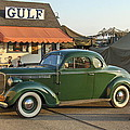 1942 Gulf Service Station With Antique Car by Angelo Rolt