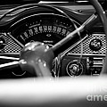 1955 Chevy Bel Air Dashboard In Black And White by Sebastian Musial