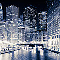 Chicago River Buildings At Night by Paul Velgos