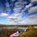 Pink Boat In Scenic Saskatchewan by Mark Duffy
