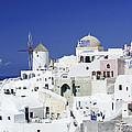 Scene In Santorini Island Greece by Waldek Dabrowski