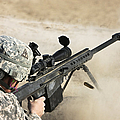 U.s. Army Soldier Fires A Barrett M82a1 by Terry Moore