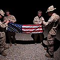 U.s. Marines Fold The American Flag by Terry Moore