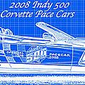 2008 Indy 500 Corvette Pace Car Reverse Blueprint by K Scott Teeters