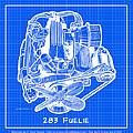 283 Corvette Fuelie Reverse Blueprint by K Scott Teeters