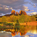 Cathedral Rock Reflected In Oak Creek by Tim Fitzharris