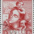 old French postage stamp by James Hill