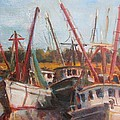 3 Shrimpers At Dock by Albert Fendig