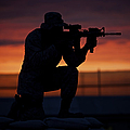 Silhouette Of A U.s Marine On A Bunker by Terry Moore