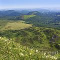 View From Puy De Dome Onto The Volcanic Landscape Of The Chaine Des Puys. Auvergne. France by Bernard Jaubert