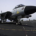 An F-14d Tomcat On The Flight Deck by Gert Kromhout