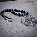 3596 Spiderweb Rhinestone Pendant Necklace by Teresa Mucha