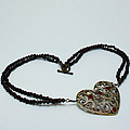 3597 Vintage Heart Brooch Pendant Necklace by Teresa Mucha
