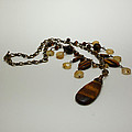 3618 Tigereye And Citrine Necklace by Teresa Mucha