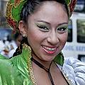 Hispanic Columbus Day Parade Nyc 11 9 11 Female Marcher by Robert Ullmann